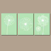DANDELION Wall Art Mint Green Bedroom Wall Art Bathroom Wall Art Bedroom Pictures Flower Wall Art Dandelion Prints Set of 3 Bathroom Decor