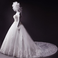 Popular lace beaded 2015 new summer dress a small tail lace bride wedding dress = 1929467332