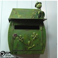 European Classical Villa Mailbox Countryside Hanging Mailbox Iron Painted