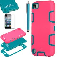 ULAK Hybrid 3 Layer Silicone Hard Case Cover for iPod Touch 5 6th Gen(Purple/Blue)