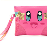 Pink Puff Zipper Clutch Bag With Wristlet | Nintendo Kirby Inspired | Purse | Geek Chic