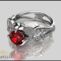 14K White Gold Ruby Ring,Alternative Engagement ring,Butterfly Ring,Wedding Ring,Red Ruby Rings,Ladys Jewelry,Unique Ring,Nature inspired.