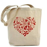 The Official I Love Science Store | Heart with Science Icons Tote Bag