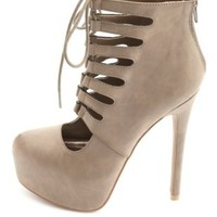 Cut-Out Lace-Up Platform Heels by Charlotte Russe
