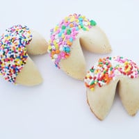 24 Chocolate Covered Fortune Cookies With Round Rainbow Sprinkles, Pastel Confetti or Long Rainbow Sprinkles