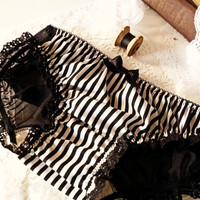 Katrina Bustle Panties in Black and White Stripe Made by ohhhlulu