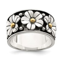 Sterling Silver Antiqued 14k Gold Centered Daisy Ring