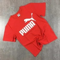 PUMA Fashion new bust letter print women and men short sleeve t-shirt top Red