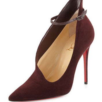 Christian Louboutin Vampydoly Suede Ankle-Wrap Red Sole Half-Bootie