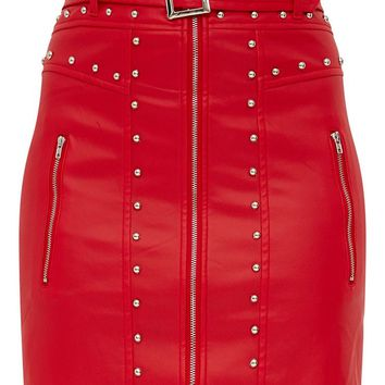Red Faux Leather Stud Detail Belted Mini Skirt