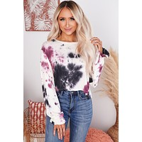 Dreamy Escape Tie Dye Top (Burgundy)