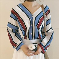 classic striped 3/4 sleeve blouse
