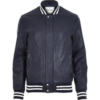 River Island MensNavy Only & Sons varsity bomber jacket
