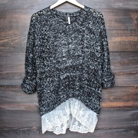 marled open knit sweater with lace hem in charcoal