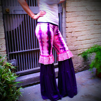 SALE Hand Dyed Pink and Purple Tie Dye Flow Dance Pants