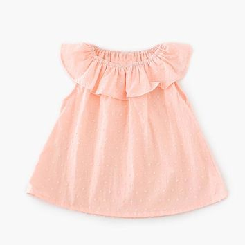 Sleeveless Solid Baby Girl T-shirts Lotus Leaf Collar A-line O-Neck Toddler Top Blouse Baby Girls Clothing Kid T Shirt