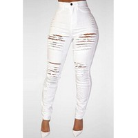 Solid White High Waist Ripped Jeans