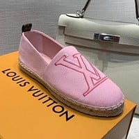 LV 2020 new women's wild straw canvas fisherman shoes