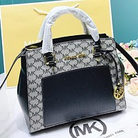 MK Fashion New More Letter Leather Shopping Leisure  Crossbody Bag Shoulder Bag Handbag Black