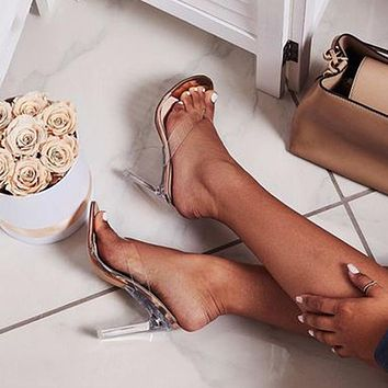 Silver Glass And Champagne Pvc Shoes Transparent High Heels High Heels