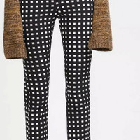 Black Pattern Square Pencil Zippered Pants