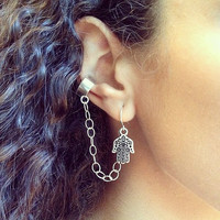 Hamsa Ear Cuff Earrings - Silver Chain Earcuff, Bohemian Spring fashion Jewelry