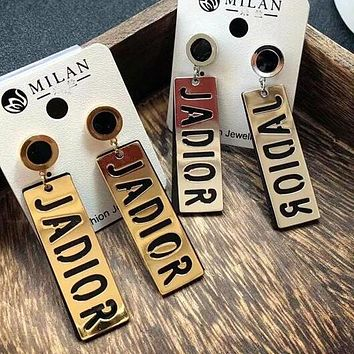 DIOR New Popular Women Personality Letter Long Paragraph Earrings Jewelry I13282-1
