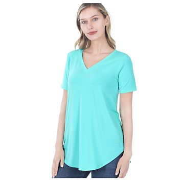 Your New Favorite! Classic V Neck Top - Mint