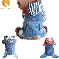 Trendy Denim Stripe Pet Dog Jumpsuits Clothes Jeans Puppy Hoodie Coat Clothing For Small Large Dogs Pets Couples Jackets Sweatshirts 3 AT_94_13