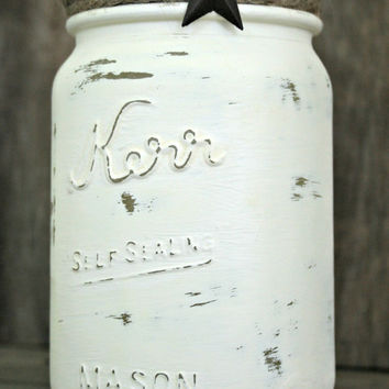 Home and Wedding Decor - Painted, Distressed Mason Jar, Vase or Organization, Rustic, Shabby Chic, Farmhouse, Country