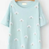 Light Blue Short Sleeve Cloud Print T-Shirt