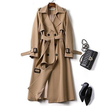 Bestseller! Plus Size Women's Double Breasted Long Trench Coat
