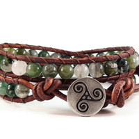 Leather Wrap Bracelet Moss Agate Gemstones Triskele Buton Celtic Style Beaded Jewelry