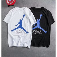 Jordan Trending Women Men Stylish Blue Big Logo Signature Print Sport Short Sleeve T-Shirt Top I-A-BM-YSHY