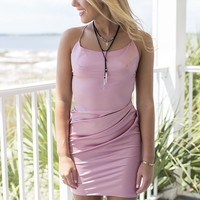 Off The Wall Mauve Lace Up Back Dress