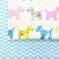 100% cotton twill colorful flower check dots cartoon dogs blue chevron for DIY crib bedding  apparel patchwork handwork decor
