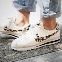 Onewel Nike Classic Cortez Forrest Sports Shoes Classic Shoes Leisure Sneakers White With Floral Hook