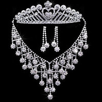 New Wedding Bridal Jewelry White Rhinestone Crystal Earring Necklace Crown Sets