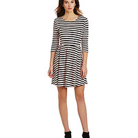 Jodi Kristopher Striped Fit-and-Flare Dress - Peach/Black