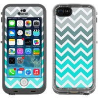 Skin Decal for LifeProof Apple iPhone 5C Case - Chevron Grey Green Turquoise Black