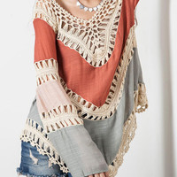 Red V Neck Crochet Chevron Aaymmetric Blouse