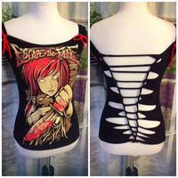 Escape the Fate Weaved Upcycled Tshirt by PirateGirlDesigns