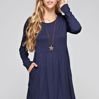 Perfect Fall Day Dress - Navy