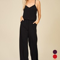 Racerback Knit Jumpsuit - Black