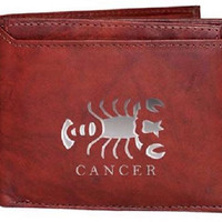 Men's Leather Wallets with Cancer Zodiac Sign