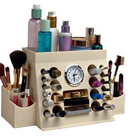 Lips-n-Eyes Two Piece Makeup Organizer, Antique Ivory, 38.1 Ounce