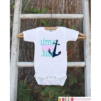 Little Miss July Onepiece Bodysuit - Take Home Outfit For Newborn Baby Girls - Nautical Summer Infant Going Home Hospital Onepiece