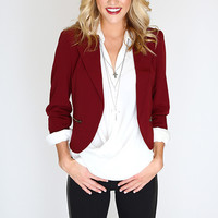 Back to Business Blazer - Burgundy