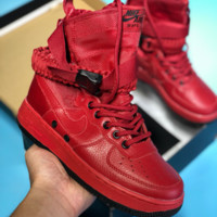 DCCK N399 Nike air force 1 Double button function shoe side zipper leisure high top shoes Red