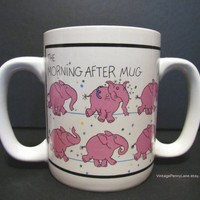 Double Handle Morning After / Hangover Mug, Coffee Cup, Pink Elephant